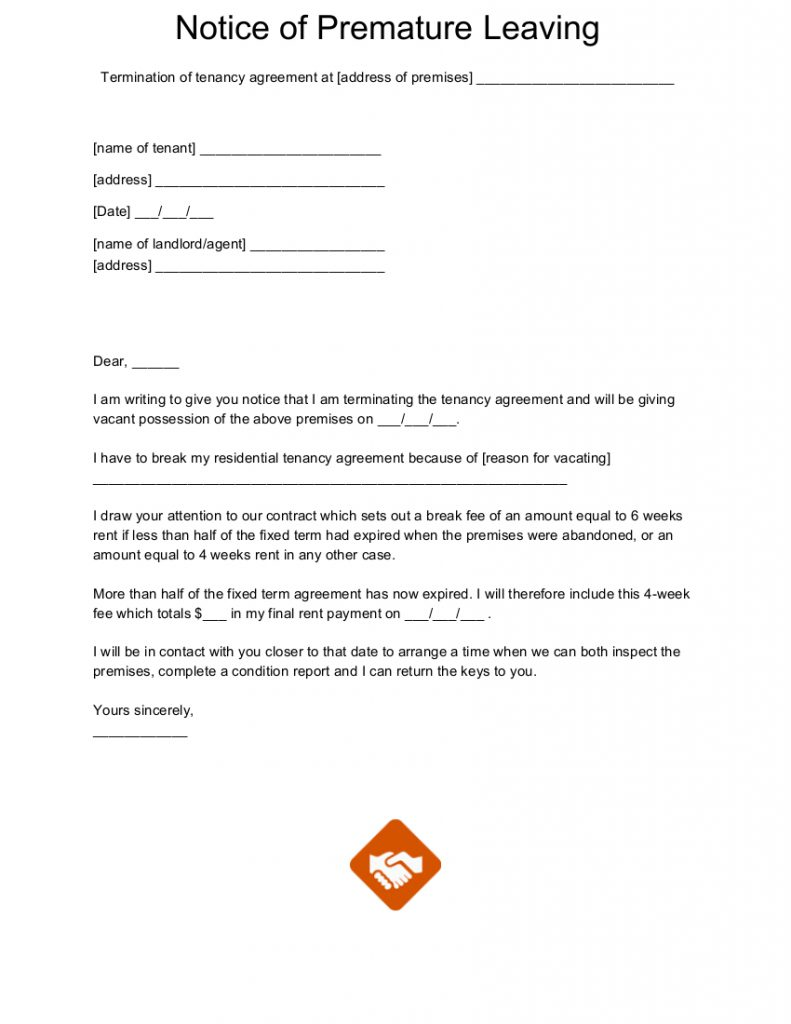 notice of premature leaving letter template