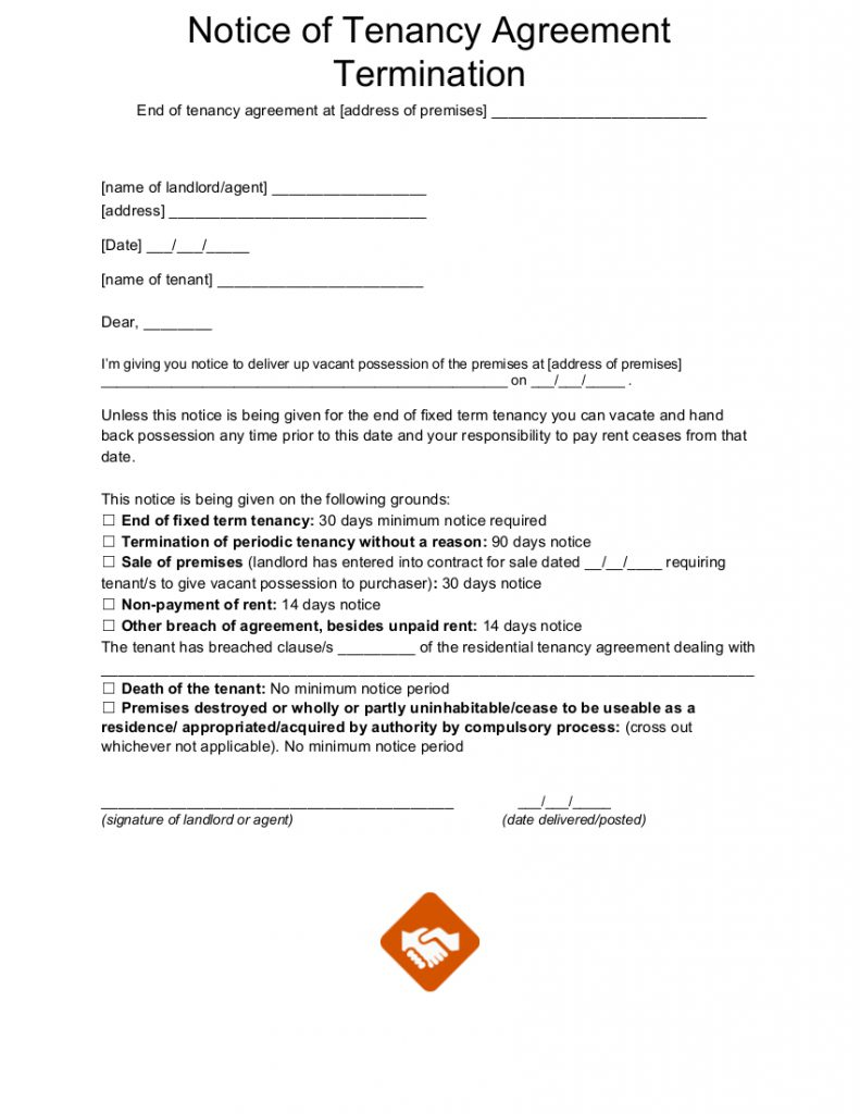 End of tenancy letter templates notice of tenancy termination letter template spiritdancerdesigns Images