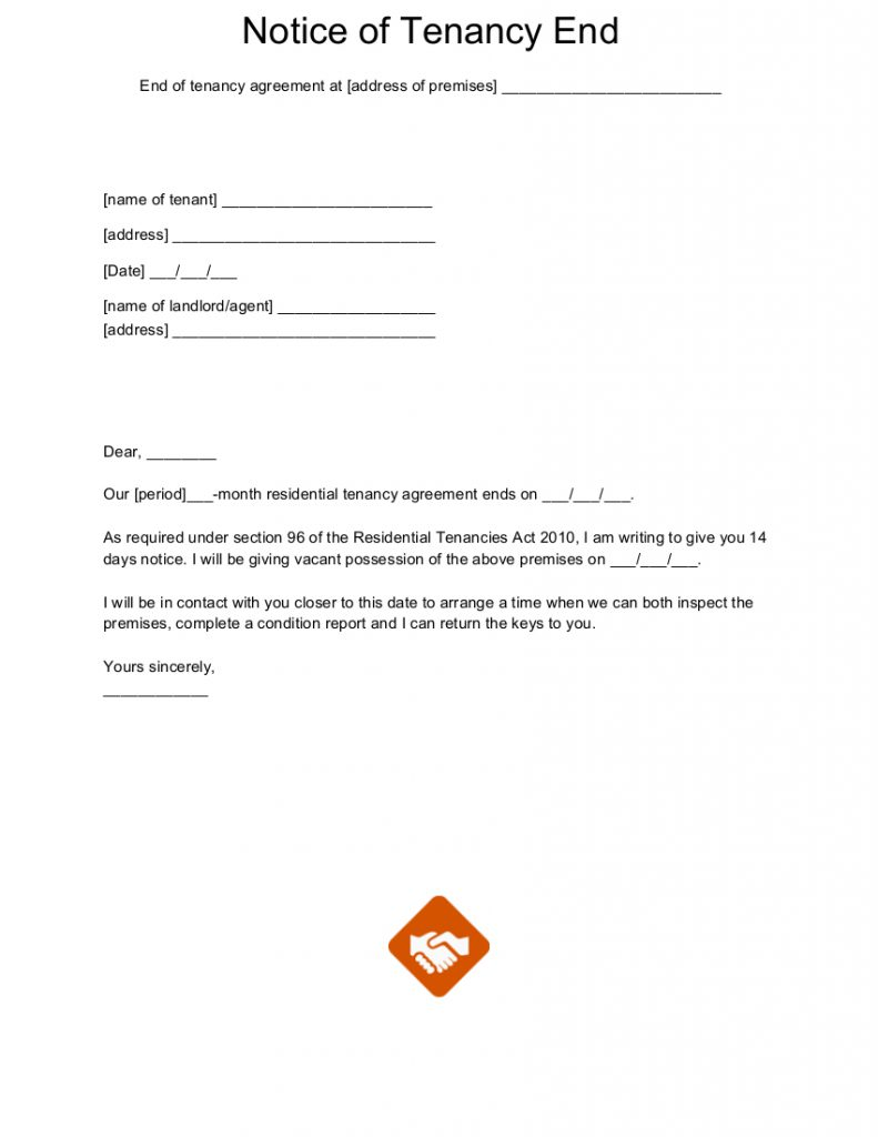 End of tenancy letter templates for Notice to end tenancy template