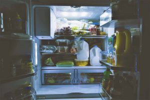 open refrigerator full with food