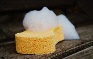 sponge with soap for cleaning